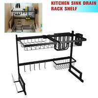 Over Sink Dish Drying Rack Stainless Steel Drainer Shelf Kitchen Cutlery Holder