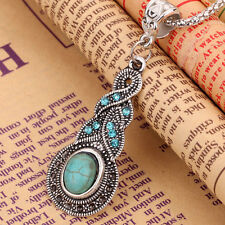 Women Tibetan Silver Crystal Turquoise Pendant Necklace Chain Vintage Jewellery