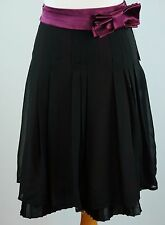 Kristin Davis Size 8 Chiffon Skirt Bow Belt Black Burgundy New
