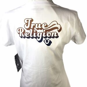 TRUE RELIGION Women Short Sleeve T-Shirt Tee V Neck White Cotton Size L $59 NWT
