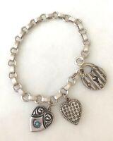 Vintage Sterling Silver Starter Charm Bracelet Heart Lock Puffy Hearts