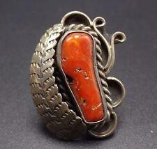 Vintage NAVAJO Sterling Silver & Old Red Mediterranean CORAL RING, size 7.5
