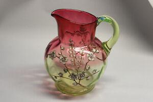 "RUBINA VERDE PITCHER Enamel Decorated MOSER Art Glass 6"" Tall"