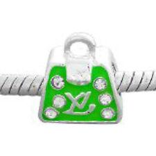 Handbag W/Green Cz Charm Bead for Snake Chain Bracelet