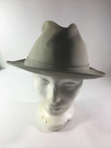 Stetson Water Repellent Khaki Tan Cloth Fedora  Hat Size 7 3/8 Golf Fishing