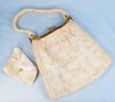 Vintage Handbag & Change Purse Beaded Pink Blue Yellow Floral on Cream As Is