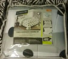 Your-Zone 7-pc Full Coordinated Bed Set- White/ Mint Green w/ Black Polka Dots