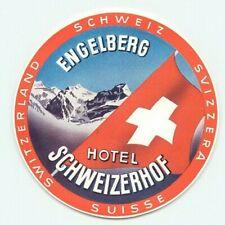 ENGELBERG SWITZERLAND HOTEL SCHWEIZERHOF GREAT OLD LUGGAGE  LABEL