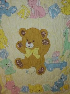 Vintage Quilted Baby Blanket 1980's