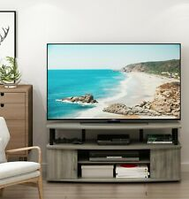 Furinno JAYA Large Entertainment Center Hold up to 55-IN TV, French Oak Grey/Bla
