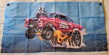 Hot wheels 55' chevy Bel-air gasser candy striper banner. Banner is 34