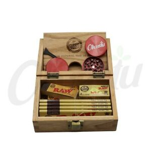 Raw Box Rolling Paper Station Tray Tips Grinder Gift Set Roll Classic Premium