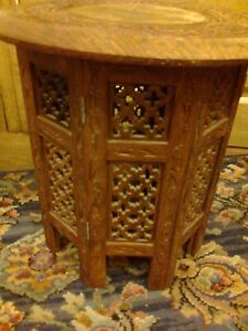 Hand Carved 15 inch Wooden Side Table with Brass inlay flowers collapsible base
