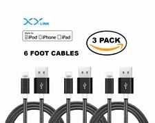 3 PACK 6 FEET Nylon Braided Lightning USB Data Cable Charger Cord for iPhone X