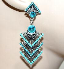 PENDIENTES mujer plata colgantes diamantes de imitación azul brincos cercei G7