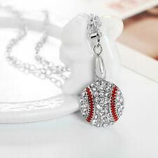 Fashion Silver Plated Crystal WaterDrop Necklace Baseball Pendant Woman Lady @_@