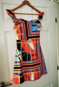 SALE! Made in Italy Chain Print Padded Mini Dress Size 12 BNWOT