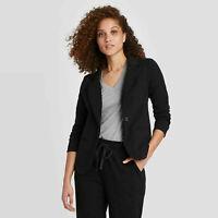 Women's Long Sleeve Knit Blazer - A New Day Black