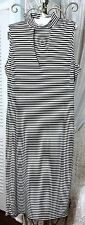 NEW~  Plus Size 2X Black White V-Neck Striped Long Maxi Dress