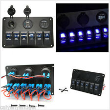 6 Gang Blue LED Rocker Switch Control Panel Circuit Breaker Car Boat Marine RV