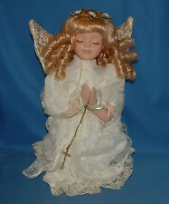 "Porcelain Doll Angel Praying Curly Blonde '99, 12"" lot1399"