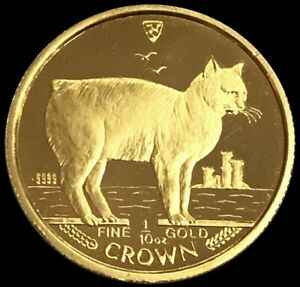1988 GOLD ISLE OF MAN 1/10 OZ CROWN MANX CAT MINT STATE