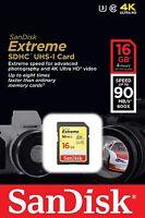 SanDisk Extreme 16GB UHS-1 U3 SDHC SD Class 10 90MB/S Memory Card 4K Ultra HD