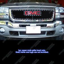 Fits 2003-2006 GMC Sierra 1500 W/Logo Show Stainless Black Rivet Mesh Grille