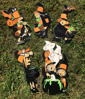 5 Vintage Halloween Decorations Witches Laminated Die Cut Out Classroom Hanging