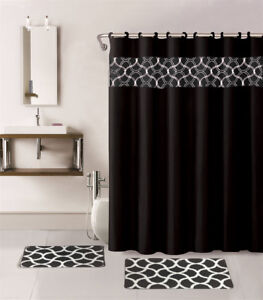 15PC PRINTED BANDED BATHROOM SHOWER CURTAIN SET BATH MAT FABRIC COVERED RINGS