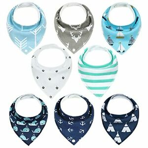 Baby Bibs 8 Pack Soft and Absorbent for Boys & Girls - Baby Bandana Drool Bib...