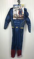 New Marvel Comic Superman Costume Boys Large 10-12 Halloween Play Dress Up