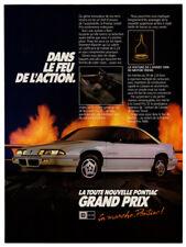 1988 PONTIAC Grand Prix Vintage Original Print AD White car photo Canada French