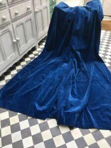 """FAB PAIR Peacock BLUE Vintage Cotton Velvet Curtains 44"""" W x 82""""L 110 x 208cm"""