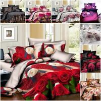 Duvet Cover sets 3D Digital Bedding set with Fitted Sheet Pillow Case 18 Designs
