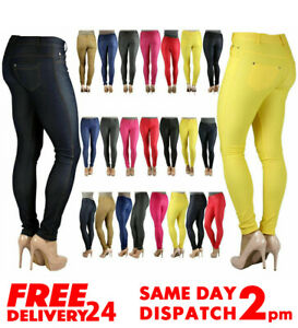 Ladies Skinny Fit Coloured Jeggings Trouser Womens Stretch Jeans Denim Pants