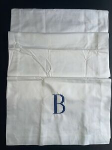 """Pottery Barn 100%Cotton White Table Runner Embroidery """"B""""Monogram 16""""x90"""""""