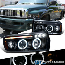 Dodge 94-01 Ram 1500 2500 3500 LED Halo Projector Headlights Lamps Black Pair