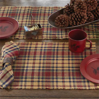 """Set of 4 Prim Mustard, Navy, Country Red, Green Plaid Placemat """"South River"""""""