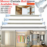 Telescopic Extendable Chrome Curtain Shower Rail Spring Pole Rod Bath Window UK