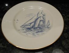 Lenox Special Clipper Ship Blue Sail Boat Plate Ivory w /Gold Rim Dinner 10.5""