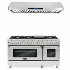 Commercial-Style 48 In. 5.8 Cu. Ft. Double Oven Dual Fuel Range With Cosmo Co.