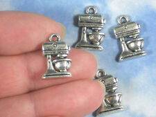 10 Kitchen Mixer Charms Baking Cooking Antiqued Silver Tone Pendants #P1778