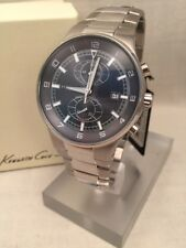 Kenneth Cole Watch Steel Blue Grey Face Chronograph Date KC3500 MSRP$175 NWT