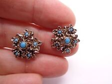 VINTAGE FAUX TURQUOISE CLIP ON EARRINGS FLORAL DAISY PARTY PROM FESTIVAL