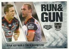 2016 NRL ELITE RUN & GUN NZ WARRIORS RYAN HOFFMAN SIMON MANNERING RG30 CARD