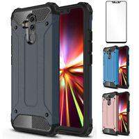 For Huawei Mate20 Lite P20 Lite Full Cover Hybrid Armor Case & 9H Tempered Glass