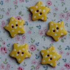 5 Botones de estrella de lunares amarillos 18 mm