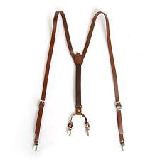 "Mens Leather Suspenders Y-Back Retro Braces Clip-On Brown 45""~49"""