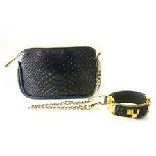 CC Skye The Victoria Wristlet Black Python purse bag detachable bracelet clutch
